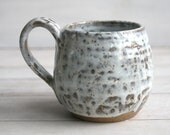 White Glazed Mug on Toasted Brown Speckled Stoneware Rustic Pottery Cup Ready to Ship Made in USA
