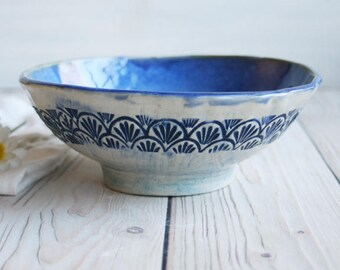 Rustic Stoneware Bowl with Shell Motif in Blue and Natural White Glaze Stoneware Ceramic Pottery Bowl Ready to Ship Made in USA