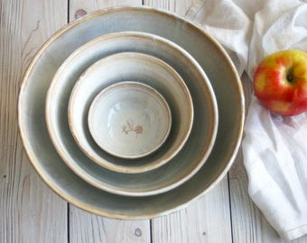 Rustic White Nesting Bowls, Ceramic Set of Four White and Ocher Stoneware Bowls, Handmade Pottery Ready to Ship Made in USA