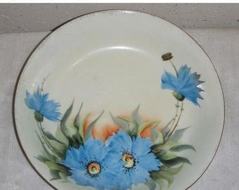 ON SALE Vintage HP Handpainted Blue Carnation Floral Bowl Signed