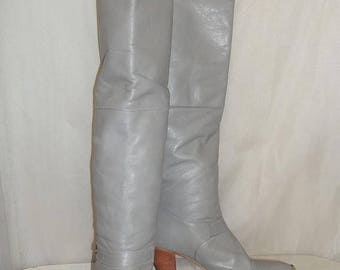 ON SALE Vintage Womens Dingo BOHO Pirate Cuff Otk Over the Knee Leather Tall Boots Size 8M