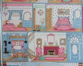 vintage fabric, dollhouse print, house rooms, cotton, sewing, craft supplies, unused fabric