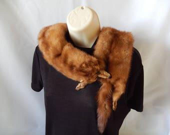 VINTAGE fur stole, 1940's stone marten fur boa, 2 pelts, outerwear, fur collar, vintage accessory