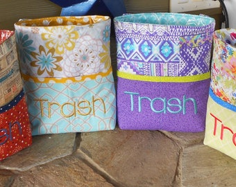 Car Trash Bag With Pockets * Quilted and Personalized