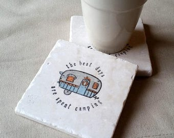 SALE Camper Coasters - Personalized Tile Coasters - Camping - Wedding Gift - Mothers and Fathers Day Gifts - The Best Day are Spent Camping