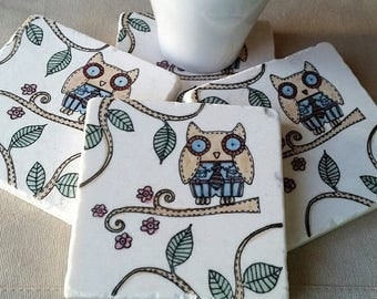 XMASINJULYSale Owl Home Decor - Absorbent Tile Coasters - Father's Day Gift - Oscar the Owl Design