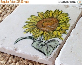 XMASINJULYSale Sunflower Coasters - Mother's Day Gift - Absorbent Tile Coasters - Floral Home Decor