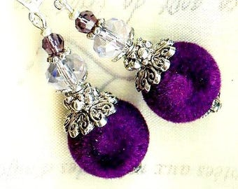 Earrings ❀ VELVET purple Crystal ❀ Provence lilac OR498