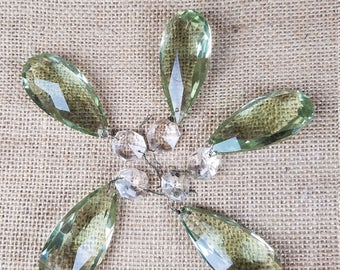 Vintage set of 5 chandelier crystal faceted glass prisms teardrop light green lamp part