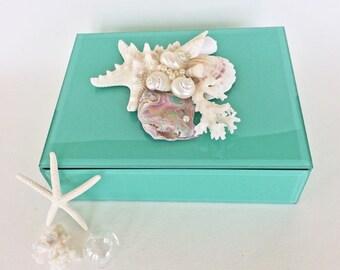 BEACH DECOR JEWEL box, trinket box, shell collage, bright aqua beveled glass, nautical, coastal, beachy keepsake box, treasure box, wedding