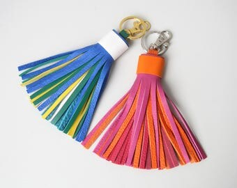 Leather Tassel Keychain With Clasp Multicolor Keyring Bag Charm Keychain Clip Gifts for Her