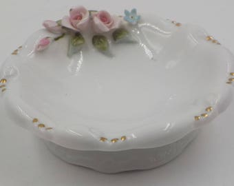 Vintage Porcelain Trinket Dish - Ring Dish - Small - Pink Roses - Lefton - Hand Painted - Shabby Cottage