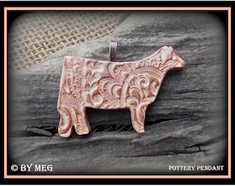 "Show Heifer, Cattle Jewelry, Kiln Fired Earthenware Pottery Ceramic Pendant Approx 2.25"" Wide"