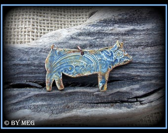 Show Pig, Hog, Jewelry, Earthenware, Ceramic Pendant 2.50""