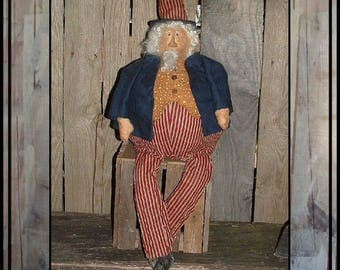 SALE mailed paper pattern Primitive folk art Roly Poly Uncle Sam Americana Doll HAFAIR OFG faap 435