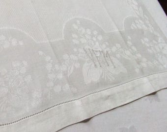 Linen Damask Towel Lily of the Valley Triple Monogram