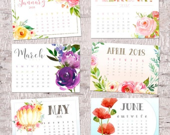 Calendar, 2018 floral desk calendar, colorful 5x7 desktop calendar, watercolor florals, Good Frau calendar design