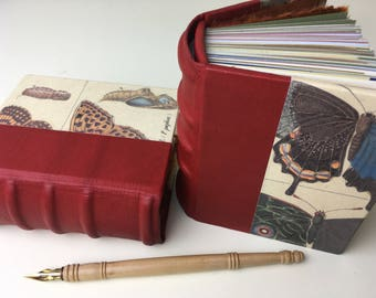 Small Butterfly Journals Set of 2, Case-bound journals, Heirloom Books with leather spine & mixed-media papers, traditional bookbinding