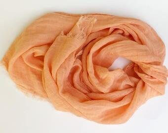 100% Linen Summer Scarf * Peach Orange Natural Linen Scarf * Salmon Pink Lightweight Flax Scarves * Pastel Apricot Women's Men's Linen Scarf