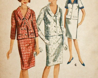"Vintage 1960s Sewing Pattern, Butterick 3521, Misses' Two-Piece Dress, Misses' Size 14, Bust 34"", UNCUT, FF"