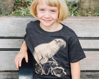 Sea Lion on a Bicycle- Kids T Shirt, Children Tee, Handmade graphic tee, sizes 2-12