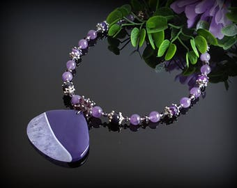 Purple Necklace for Women Wife Christmas Gift for Mother Gemstone Statement Necklace for women Agate Pendant Necklace Purple Crystals