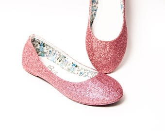 Glitter - Carnation Pink Ballet Flat Slipper Custom Shoes