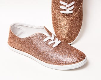 Glitter - CVO Rose Gold Canvas Sneakers Shoes