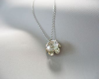 """Cubic Zirconia Solitaire, 14K White Gold Necklace, 16"""", Round, 1/2 carat, Sparkling, 1mm Thin Chain, Silver, Flower Setting"""