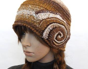 Rustic Beige Hat, Crochet Beanie, Neutral  tones women's winter hat, brown beanie with Crochet Spiral Motif