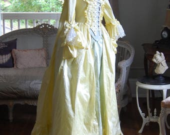 Summer yellow silk sack back dress green silk skirt Marie Antoinette Victorian inspired rococo costume dress