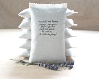 Funny Sister Quote Lavender Sachet, If you fall I will pick you up as soon as I finish laughing! Gifts for Sisters