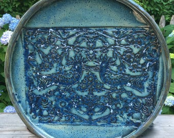 Large Ceramic Platter Serving Plate Centerpiece  with whimsical bird pattern and rounded rim intones of blue and blue green-  Ready to Ship