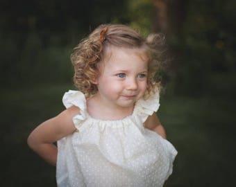 Cream Swiss Dot shirt, girls blouse, flutter sleeve top, girls shirt, swiss dot blouse, toddler flutter sleeve top, flutter sleeve, blouse