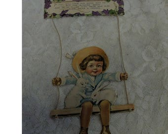 Large Vintage Die Cut - Boy On A Swing Die Cut - Victorian Die Cut - 2 Piece Die Cut