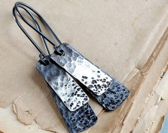 ON SALE Sterling silver earrings, minimalist earrings, rustic earrings, hammered mixed metal, elongated earrings - Asteroid Belt