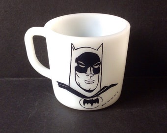 Vintage 1966 Batman White Milk Glass Mug Westfield