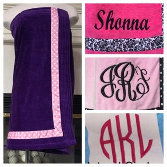 Spa Wrap Personalized Plus Size Womens Purple Towel Wrap With Accent Ribbon-FREE SHIPPING