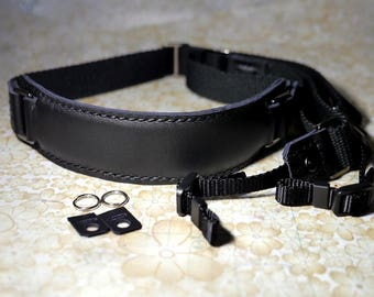 Leather camera Strap Personalize Camera Strap Artisan Custom leather camera Strap in Black Color, one of a kind