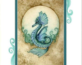 Hand Accented seahorse fairy PRINT 5x7 matted 8x10 by Amy Brown