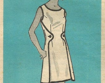 ChristmasinJuly Vintage 60s Mail Order 4743 UNCUT Misses One Piece Double Wrap-Around Dress Sewing Pattern Half Size 18.5 Bust 41
