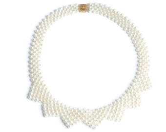 Freshwater Pearl Bib Choker Necklace Woven Renaissance Revival Bridal Wedding Vintage