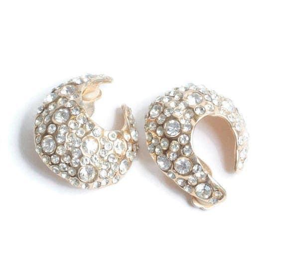 Rhinestone Diva  Earrings Fancy Clear Crystal Wedding Prom Vintage