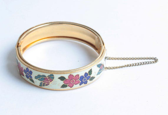 Butterflies and Flowers Enameled Bangle Bracelet Vintage