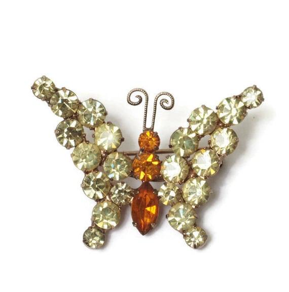 Yellow Rhinestone Butterfly Pin  Orange Stones Smaller Brooch Vintage