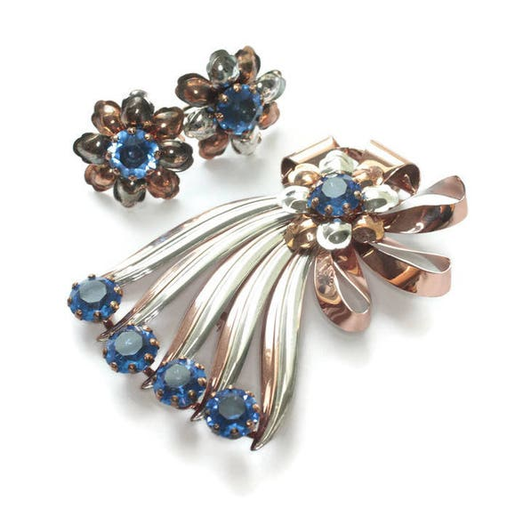 Vermeil Sterling Blue Stone Set Retro 1940s Brooch Earrings Ribbons Bow Design Original Box