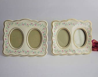 Vintage Porcelain Picture Frame - Double Picture Frame With Flowers - Oval Picture Frame - Set of Two Picture Frames  - Cottage Chic Decor