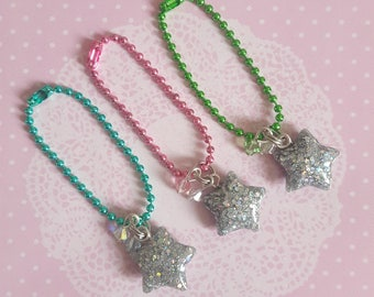Holographic Resin Star Charms With Swarovski Crystal Beads