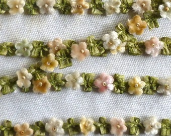 Special Order for Sandra Vintage Rococo Velvet Flowers Ombre Ribbon 1 Yard