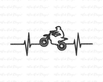 Dirtbike Dirt Bike EKG SVG DXF png file for Cricut Cameo and other electronic cutting machines